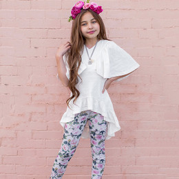 Joyfolie Felicia 2pc Tunic & Legging Set - Cream Floral