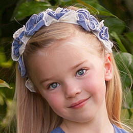 Isobella & Chloe Sweetwater Elastic Flower Crown Headband - Blue