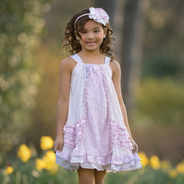 Isobella & Chloe Lavender Bouquet Dress - Lilac