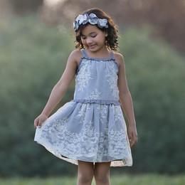 Isobella & Chloe Diana Lace Overlay Dress - Gray