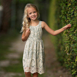 Isobella & Chloe Airy Dream Lace Overlay Dress - Slate