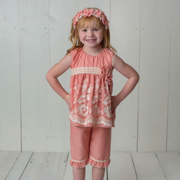 Isobella & Chloe Sweetwater 2pc Tunic & Pant Set - Coral