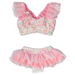 Isobella & Chloe Danni Rae 2pc Skirted Swimsuit - Coral