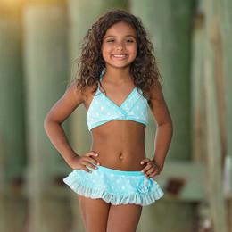 Isobella & Chloe Aqua Mist 2pc Skirted Swimsuit - Light Blue