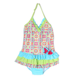 Isobella & Chloe Groovy Get Away 1pc Swimsuit - Green