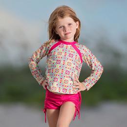 Isobella & Chloe Groovy Get Away 2pc Rashguard Swimsuit - Green