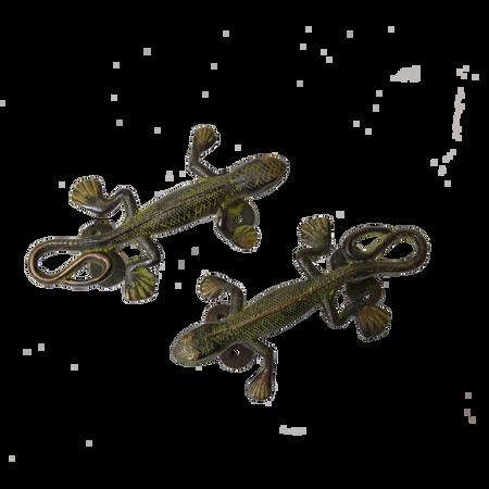 Pair of Brass Lizard Door Handles