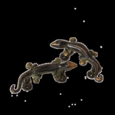 Pair of Brass Black Lizard Door Handles