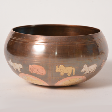 Singing Bowl - Brown with Inlaid Designs