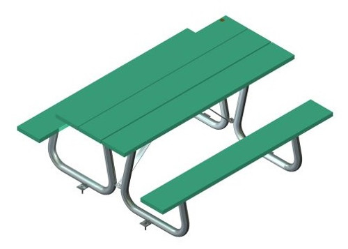Public Place Picnic Table - Straight wide slats top & seats