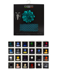 24pc Assorted Pack Hanky with Lapel Pin Set LH3000