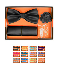 12pc Assorted Pack Boxed Micro Bow Tie and Hanky with Lapel Pin Set BTLB3000