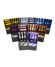 12pc Assorted Pack Boxed Poly Woven College Tie, Hanky & Cufflink Set PWFB7000-Spring/Summer