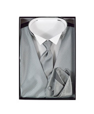 Matching Solid Vest, Velcro Tie, and Handkerchief Boxed Set FVTHB2003