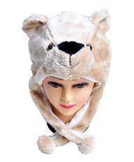 6pc Pre-Pack Animal Fleece Hats - Beige Bear HATCW111484