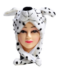 6pc Pre-Pack Animal Fleece Hats - Dalmatian Dog HATCW111415