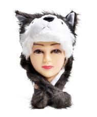 6pc Pre-Pack Animal Fleece Hats - Husky Grey Dog HATCW111446