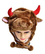 6pc Pre-Pack Animal Fleece Hats - Brown Cow HATCW111453