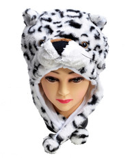 6pc Pre-Pack Animal Fleece Hats - White Leopard HATC2010