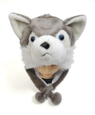 6pc Pre-Pack Animal Plush Hat - Gray Wolf HATC2020