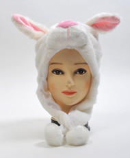 6pc Pre-Pack Animal Plush Hat - White Bunny HATC1190