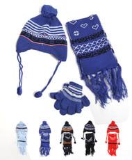 Boy's Peruvian Double-Sewn 3-Piece Glove, Hat & Scarf Set WNTSET12