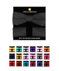 6pc Prepack 100% Poly Satin Boy's Banded Bow Tie and Hanky BBTH1301