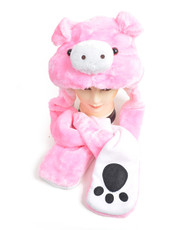6pc Pre-Pack Animal Hats With Paw - Pink Pig AHP011355