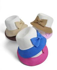 Brim Hat Two Tone Bowknot 6pc H0545
