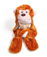 6pc Pre-Pack Animal Hats With Paw - Monkey AHP011263