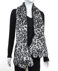 Animal Faux Fur Scarf With Paw AHP1050