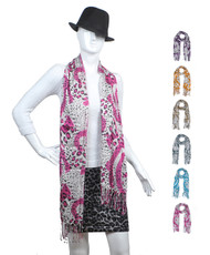 12pc Assorted Pack Cotton Leopard Scarf LS4630
