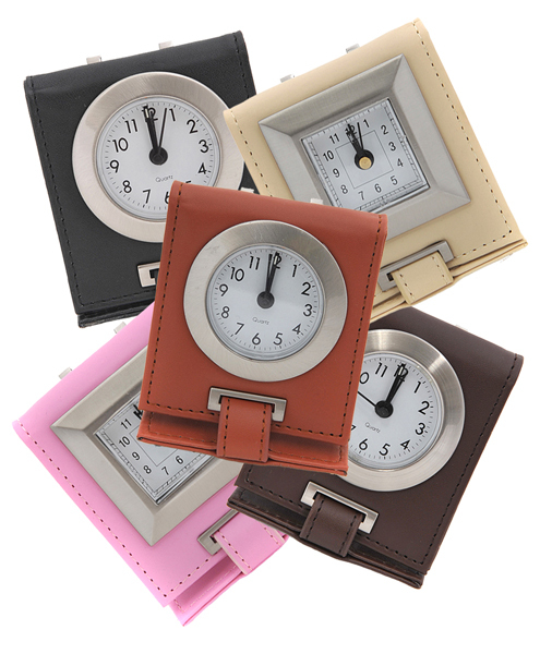 Travel-Time Leather Easel Alarm Clock