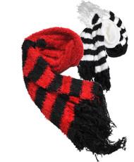 Shaggy-Striped Knit Acrylic Fringed Scarf LS10