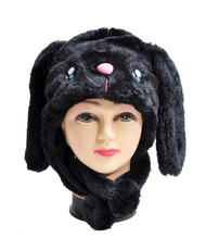 6pc Pre-Pack Animal Fleece Hats - Cute Black Puppy HATCW111279