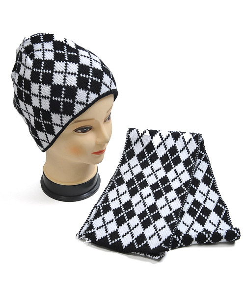 Checkered-Plaid Knit Acrylic 2-Piece Hat and Scarf Set WNTSET26
