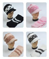 Half-Moon Pattern Knit Acrylic 2-Piece Cap and Scarf Set WNTSET32