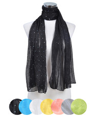 Ladies Polyester Scarf 12pc Assorted Pre-Pack LS4040