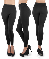 12pc 100% Poly Stretch Leggings Black L0634