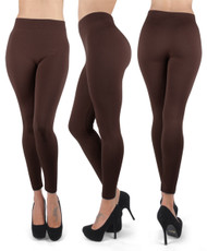 12pc 100% Poly Stretch Leggings Coffee L0635