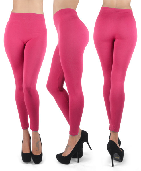 12pc 100% Poly Stretch Leggings Fuchsia L0638