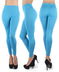 12pc 100% Poly Stretch Leggings Turquoise L0640