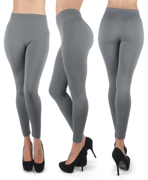 12pc 100% Poly Stretch Leggings Charcoal L0642