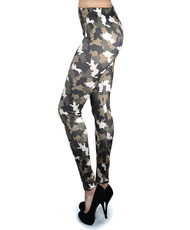 12pc Ladies Footless Printed Leggings - Camo L5010