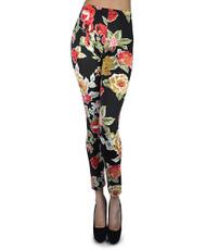 12pc Ladies Footless Printed Leggings - Floral Black/Red L8829RD