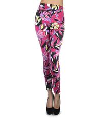 12pc Ladies Footless Printed Leggings - Abstract Flower Fuchsia L8426FU