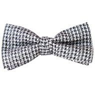 Men's Hounds Tooth Black and Silver Banded Bow Tie
