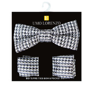 Boy's Poly Woven Hounds Tooth Black / Silver Bow Tie and Hanky Set