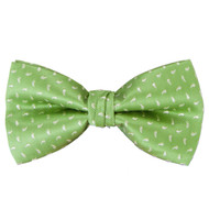 Men's Paisley Seed Green Banded Bow Tie