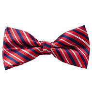 Men's United Stripes Red White Blue Banded Bow Tie